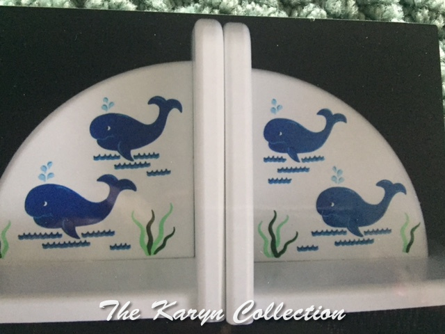 Blue Whales Hand-Painted Bookends