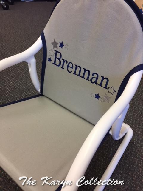 Brennan's All Stars Rocking Chair on lt. gray/trim navy
