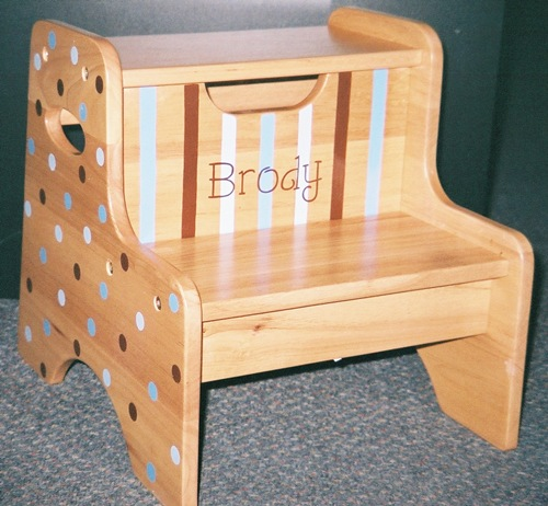Shades of Blue & Brown Dots & Stripes Wood 2-Step Stool