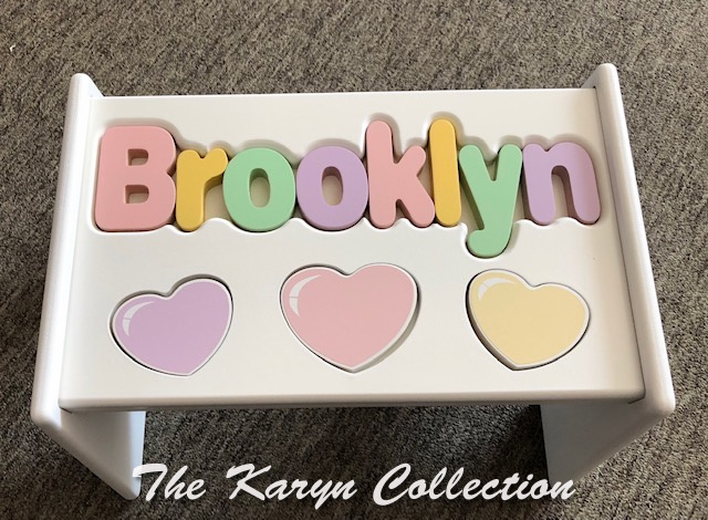 .. New!!  Brooklyn's Pastel Hearts Puzzle Stool