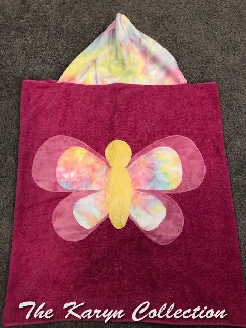 Hot Pink and Tie-Dye Butterfly Hooded Towel