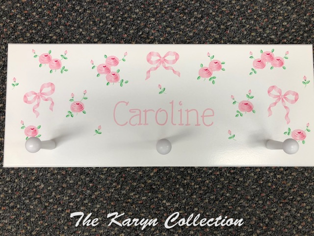 Caroline's 3 Peg Coat Rack with Bows and Roses