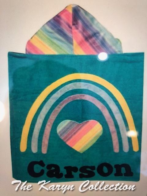 Carson's rainbow/heart towel on teal