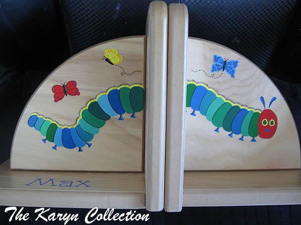 Caterpillar custom painted Bookends