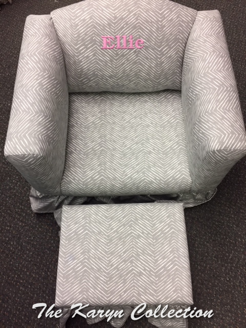 Abstract Grey Chevron Chair AND ottoman