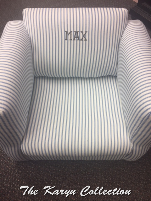 Max's blue ticking chair