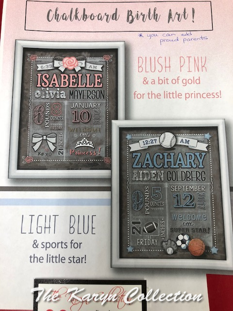 ChalkBoard Birth Wall Art...select boys or girls option