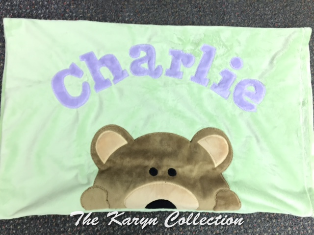 Charlie's minky pillow case with peek a boo bear