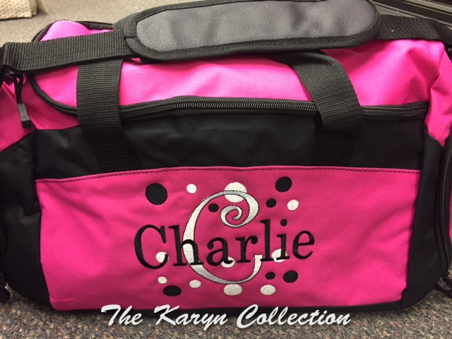 Charlie's Hot Pink Duffle with inside shoe pocket...polka dots are fun!!