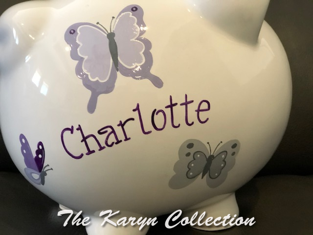 Charlotte's custom  Butterfly Bank in shades of purple and grays