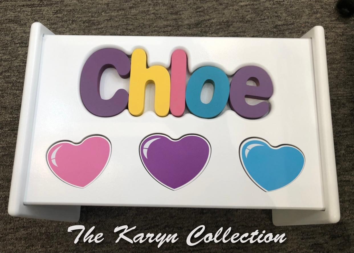 ..New!!  Chloe's Hearts Puzzle Stool