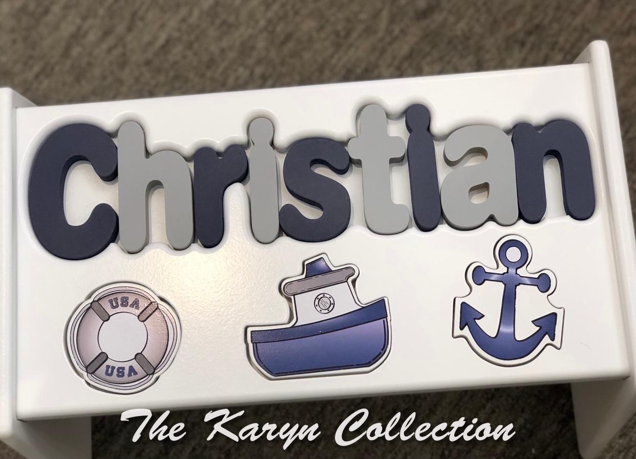 ..New!!  Christian's Nautical Puzzle Stool