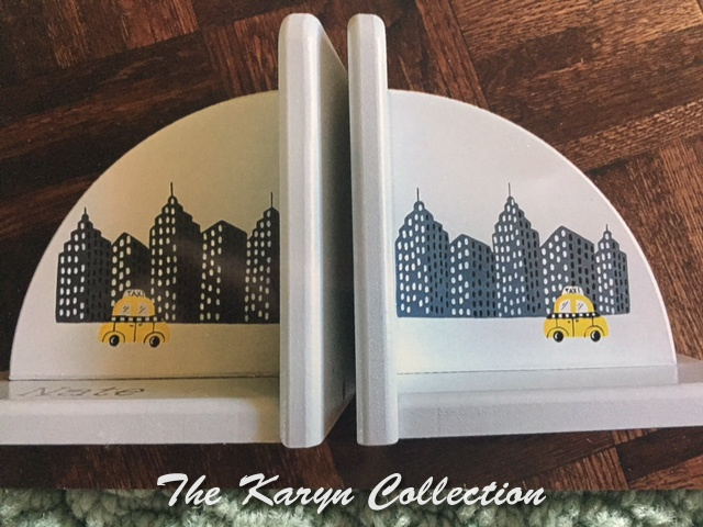 Painted Cityscape Bookends