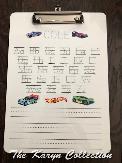 Cole's ABC Wipe Off Clipboard-Hot Wheel Cars