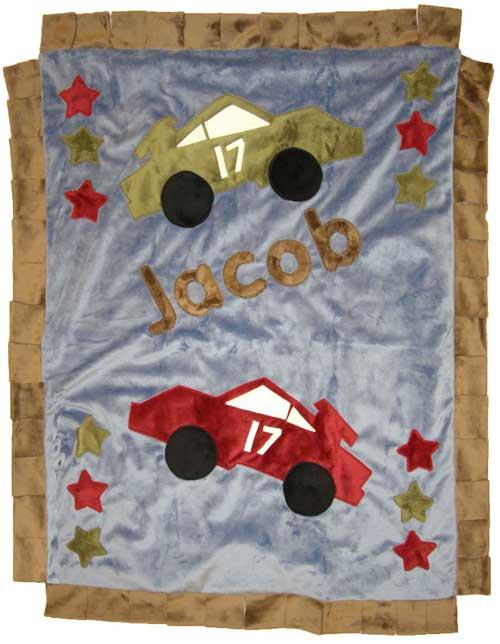 Jacob's Blue & Brown Race Cars Minky Blanket
