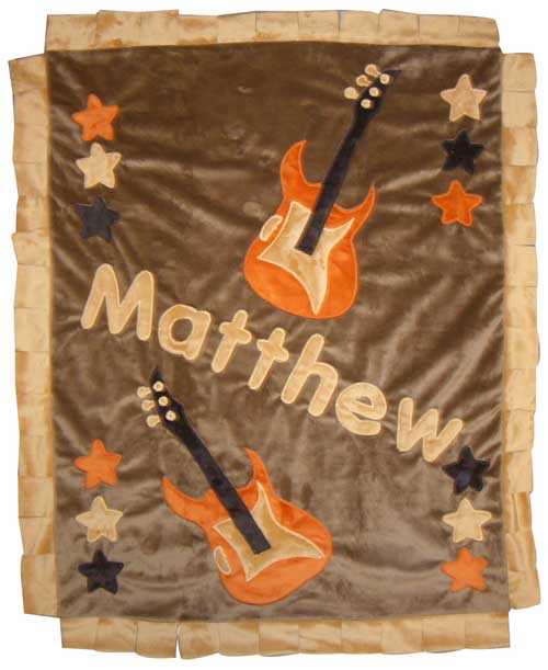 Brown & Orange Rock Star Minky Blanket