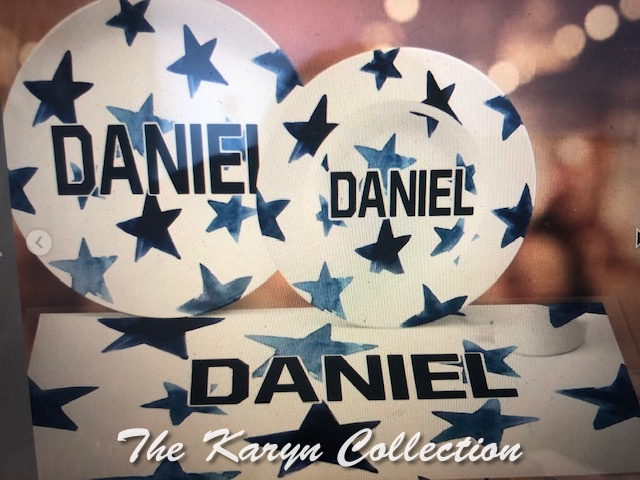 Daniel's All Star Dish Set.... in shades of blue or hot pink (think TWINS!!)