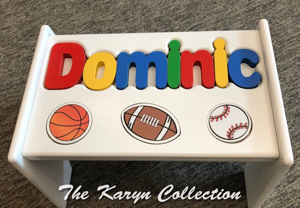 ..New!! Dominic's sports puzzle stool