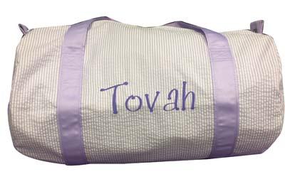 Tovah's lavender seersucker duffle bag