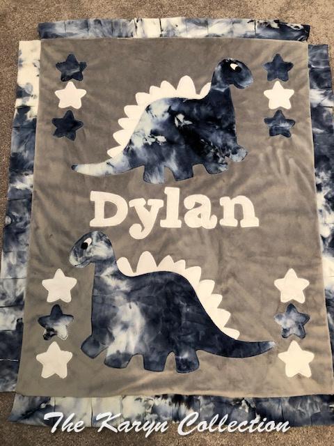 Dylan's Tie-Dye Dino minki Blanket