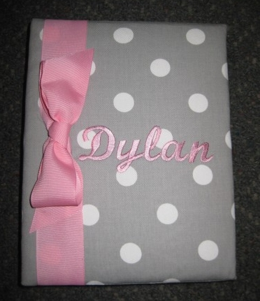Dylan Pink & Grey Dot  Personalized Photo Album