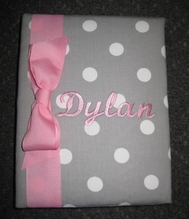 Dylan Pink & Grey Dot  Personalized Photo Album