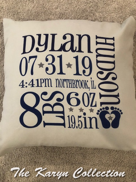 Dylan's Birth information pillow(PLEASE READ COPY about changes.....)