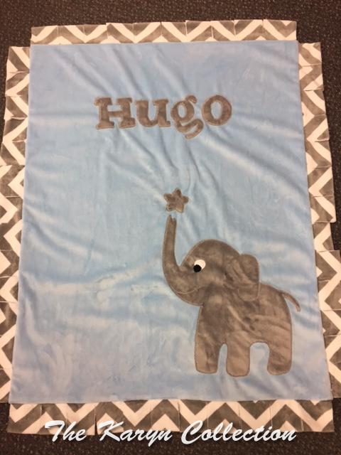 Basic Elephant design for Hugo in Minky
