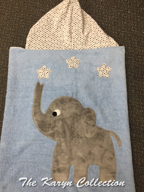 Elephant Hooded Towel Blue with gray elephant