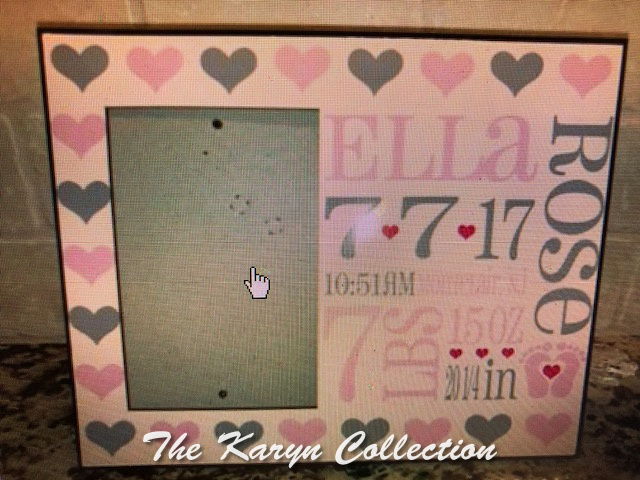 Ella's Birth Info Frame on a WHITE background