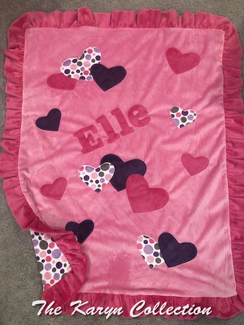 Elle's Pink Hearts Blanket