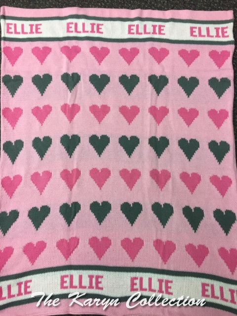 EXCLUSIVELY OURS...ELLIE'S ALL COTTON HEARTS BLANKET