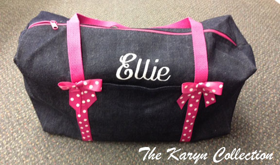 Denim Duffle with Polka Dot Trim