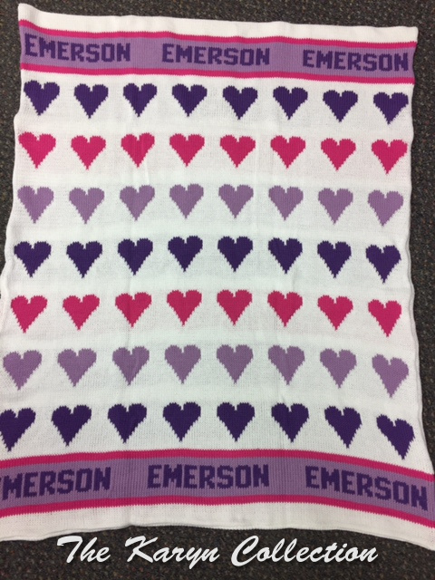 *EXCLUSIVELY OURS...Emerson's Hearts COTTON Blanket on white