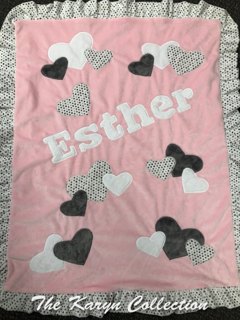 Esther's pink and gray multi heart minky blanket