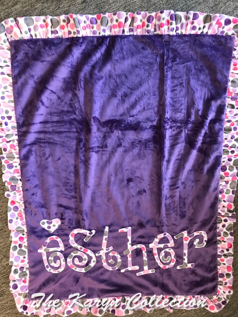Esther's Purple Minky with Dot Ruffle