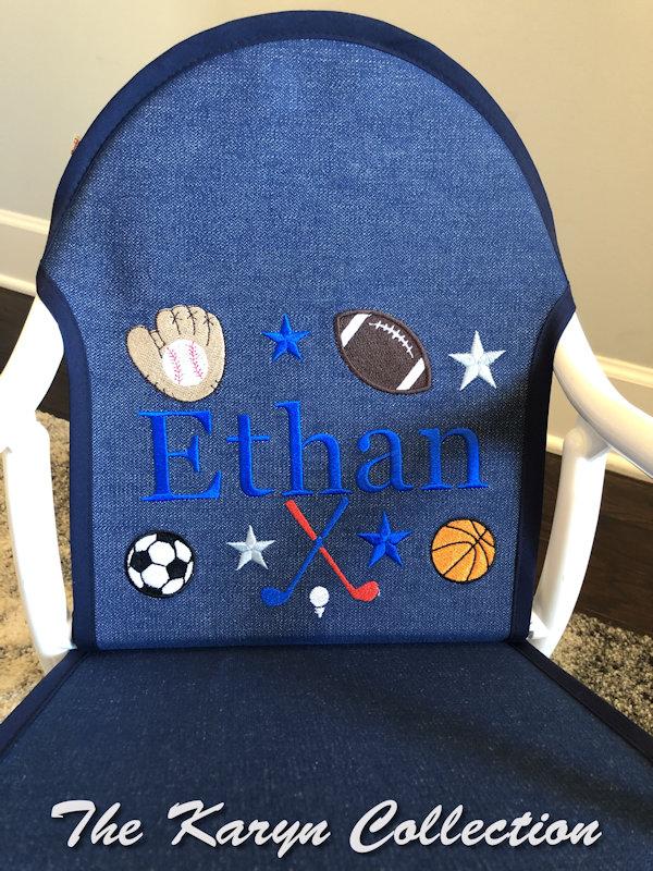 Ethan's All Sports Rocker on denim