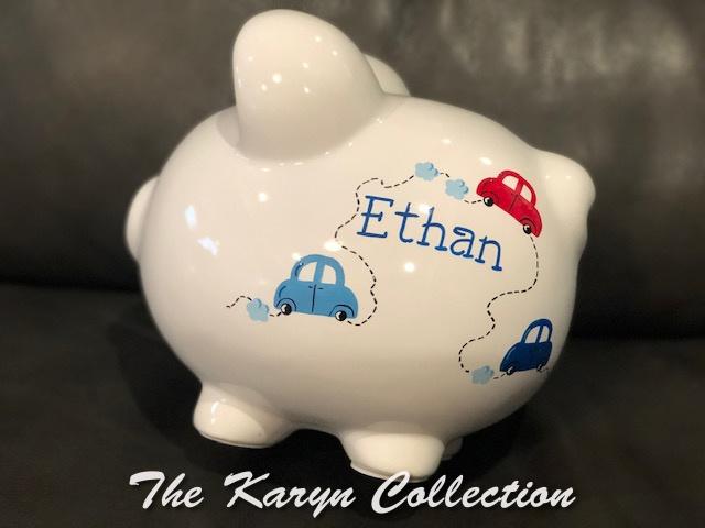 Ethan's Cars Piggy Bank....a great boys design!!
