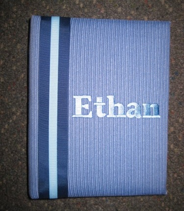 Ethan Blue w Stripe Personalized Photo Album