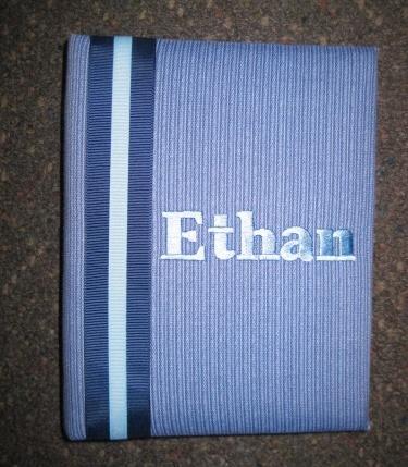 Ethan Blue w Stripe Personalized Photo Album