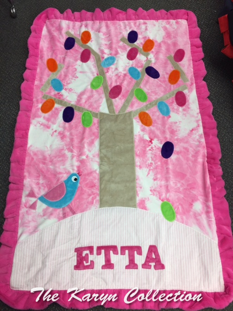 Etta's Pink Toddler Minky Blanket on SOLID PINK *****
