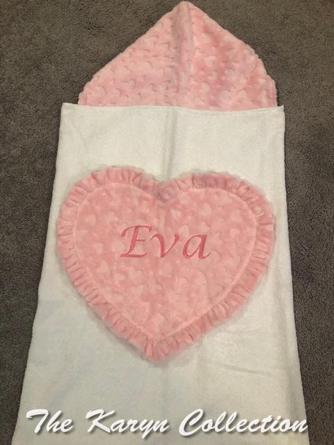 Eva's Pink Heart Hooded Towel