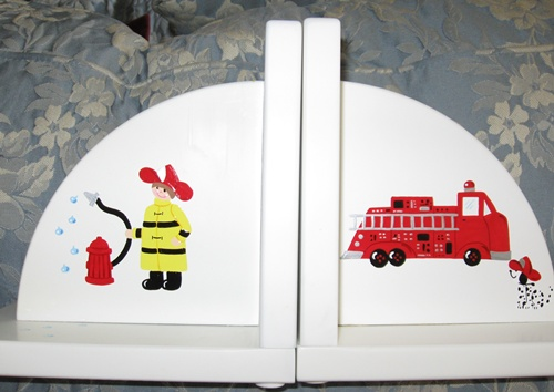 Delicate Painted Fire Truck Bookends
