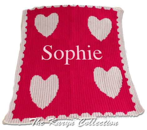 Floating Hearts & Scalloped Edge Stroller Blanket