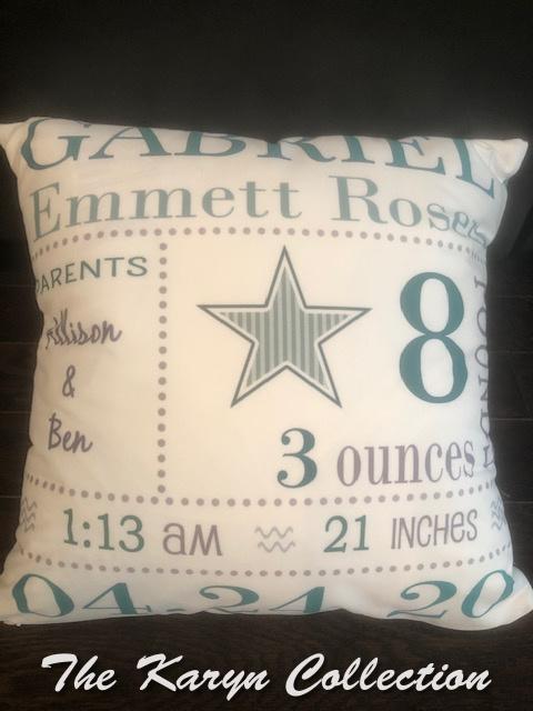 Gabriel's Star Birth Announcement Pillow