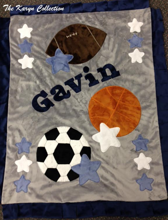 Gavin- Gray and Navy Sports Blanket