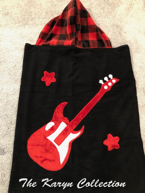 Black & Red Guitar Hooded Towel