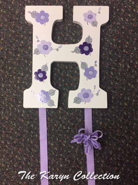 Lavender Flowers Initial Hand Painted Barrette Holder