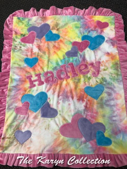 Hadley's Tie-dye Hearts Minky blanket