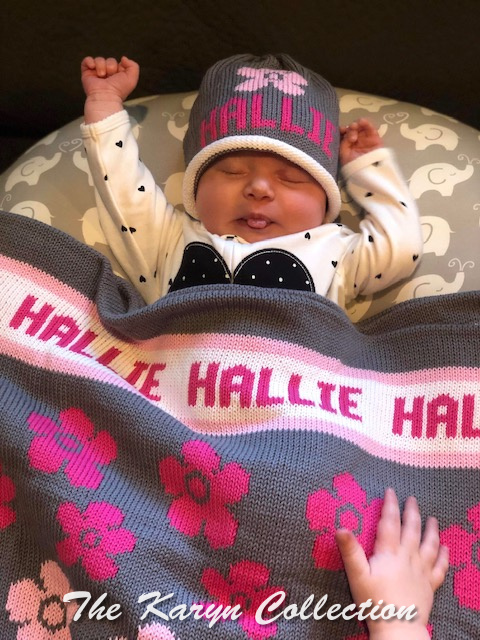*EXCLUSIVELY OURS... Hallie's 2 piece flowers cotton blanket WITH matching hat